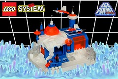 Ice Planet 2002: Astral Quadrant HQ (jsnyder002) Tags: lego moc build ice planet 2002 micro spaceship tank snow lighting dome tower vehicles landing pad crystals windows background