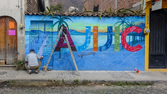 Wall painter and ladder (posterboy2007) Tags: ajijic jalisco mexico wall art ladder street