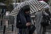 Madrid (juliamancho) Tags: madrid city snow nieve white grey umbrella paraguas rain