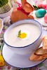 ZUPA CHRZANOWA Z CHRUPIĄCYMI GRZANKAMI (mmanuals) Tags: wielkanoc borscht soup dinner traditional easter food white sausage decoration festive table bowl meal egg vegetable dish polish poland boiled flour cuisine sour herbs tasty appetizing closeup barszcz fermented worth rustic dill polishcuisine napkin rye gourmet delicious parsley raw eastereggs holidays homemade zurek lunch marjoram fresh boiledeggs plate kitchen eggs
