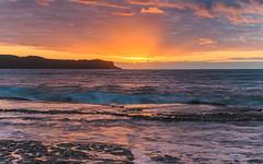 Sunrise Seascape (Merrillie) Tags: daybreak sunrise nature dawn rocky centralcoast morning sea newsouthwales rocks pearlbeach nsw water waterscape ocean earlymorning landscape cloudy coastal clouds outdoors seascape australia coast sky waves