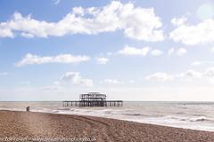 Perfect spot to contemplate, West Pier, Brighton (Zoë Power) Tags: westpier beach uk brighton derelict blueskies coast sea seaside