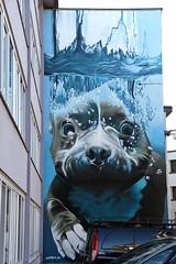 Onderwaterhond (just.Luc) Tags: hond chien dog hund graffiti streetart urbanart blue blauw blau bleu azul mechelen malines vlaanderen flandres flanders belgië belgien belgique belgica belgium smates water eau wasser agua vand acqua