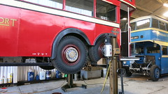 Feb 2018 - Back truck/bogie of London Transport Trolleybus 1521. East Anglia Transport Museum. (RTW501) Tags: fxh521 londontrolleybus hoist lift trucks yarmouth66 aec leyland mcw eastangliatransportmuseum eatm bogie