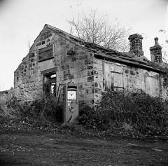 The pump house (Gabo Barreto) Tags: wike leeds yorkshire uk derelict fuelpump stonehouse film 120 mediumformat lubitel2 6x6 selfdeveloped foma400 aristaeduultra400 tlr twinlensreflex sovietcamera