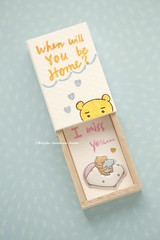 When will you be home?I Miss You,Matchbox card,Valentine's Gift,cheer up box,Gift for her/him,Girlfriend gift,boyfriend gift,matchbox art, birthday card, handmade card and message card ideas (charles fukuyama) Tags: matchboxmessage bear lovebear teddybear funnycard paper illustration handpainted unique holidaycard greetingscard lovecard kikuike