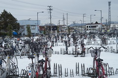 The station bicycle parking (しまむー) Tags: sony slta57 α57 af 28mm f28 trip tsugaru free pass 津軽フリーパス