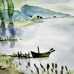 Barque au ponton. (cecile_halbert) Tags: dessin peinture croquis aquarelle carnet paysage landscape watercolor pencil draw drawing sketch sketching sketchbook art painting journal journaling diary barque artist artjournal artdiary