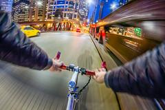 Test ride 73/365 (stevemolder) Tags: bicycle chicago loop illinois motion blur cab bridge river twilight night lights north lasalle