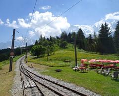 Tramway du Mont Blanc. (elsa11) Tags: tramwaydumontblanc saintgervaislesbains niddaigle montblancmassif hautesavoie auvergnerhonealpes alpes alps alpen mountains france frankrijk rackrailway railroad