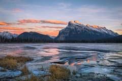 Rundle Mountain At Sunset (Margarita Genkova) Tags: beauty colors nature ice landscape rockymountains reflections sunset rundlemountain vermillionlakes banffnationalpark