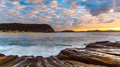 Sunrise Seascape with Cloud and Rock Ledge (Merrillie) Tags: australia centralcoast clouds cloudy coast coastal dawn daybreak earlymorning landscape morning nature newsouthwales nsw ocean outdoors pearlbeach rocks rocky sea seascape sky sunrise water waterscape waves