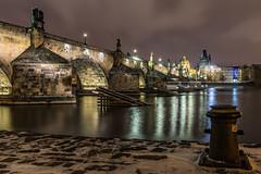 Praag (karindebruin) Tags: czechrepublic tjechie city stad praag prague charlesbridge brug night nacht water