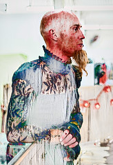 Thomas thru the Looking Glass (Clever Poet) Tags: piercings tattoos beard bald painterly tweaked processedwithtopazairemix vintage dress lace black friend thomas ares