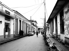 Streets of Remedios (MassiveKontent) Tags: noiretblanc blackwhite bw city monochrome urban blackandwhite streetphoto building streetphotography bwphotography streetshot remedios cuba road sky noir urbandecay contrast