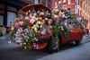 Flower Car (elohca) Tags: spring fuji new york nyc manhattan soho car vintage old red orange flowers art sculpture modern street abandoned pretty plants concrete downtown shopping