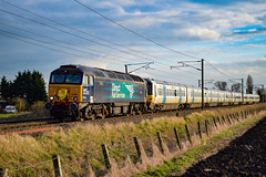 57301 + 365503 + 365519 - Bannold Road - 13/03/18. (TRphotography04) Tags: direct rail services drs 57301 golaith dragds govia great northern ex brel 365519 past bannold road working 5q65 595n 410 hornsey emud ely mlf papworth sidings the two class 365s were off for secure storage seen running 23 minutes late 365503 waterbeach