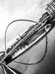 Bridges, Gateshead, Newcastle upon Tyne, North East England, UK. (CWhatPhotos) Tags: cwhatphotos gateshead olympus em5 mk ii micro four thirds camera bodycap body cap fisheye fish eye lens 9mm photographs photograph pics pictures pic picture image images foto fotos photography artistic that have which contain newcastle upon tyne river bythe north east england uk bridge span crossing millennium blue water host city day skies thebaltic baltic buildings clouds wide angle tilt tilting reflection reflections