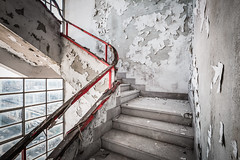 Red line (maxmene70) Tags: stair building decay abandoned urbex travel day light window factory