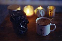 film (La fille renne) Tags: film analog 35mm lafillerenne home canonae1program 50mmf18 cinestill cinestill800t tungsten grain camera coffee seagull4b