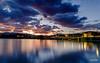Lago delle Grazie - Tolentino (MC) (Luigi Alesi) Tags: tolentino italia italy marche macerata lago delle grazie tramonto sunset ora blu blue time paesaggio landscape scenery cielo sky nuvole cloudfs riflessi reflections colori colors fujifilm xm1 raw