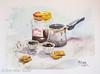Black coffee (Dror Miler) Tags: black coffee blackcoffee drormiler drormilerstudio watercolor painting aquarelle art artist mug cup pot