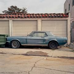 Mustang alley (ADMurr) Tags: la eastside mt washington ford mustang garage alley tile rolleiflex 35 e kodak portra blue red profile car auto ccc554 mf 6x6