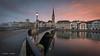 Sunrise in Zurich (Dani Maier) Tags: zürich limmat münsterbrücke fraumünster morgenrot zurich fraumuenster fraumunster kirche church münster street city oldtown