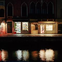Late night shopping (JaZ99wro) Tags: exif4film night labdeveloped canal portra400 longexposure reflection venice opticfilm120 pentax67ii analog f0343 film c41 cropped