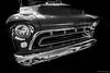 1957 Chevy Pickup Truck Grill ©2018 Steven Karp (kartofish) Tags: pickuptruck chevrolet 1957 chrome fuji fujifilm xt2 autoshow newhope blackandwhite monochrome pennsylvania grill hood chevy
