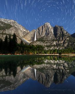 Lunar Rainbow & Star Trails Reflection