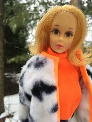 Fresh air for Jamie (Foxy Belle) Tags: barbie vintage mod doll plush pony 1960s jamie walking faux fur orange white black coat outside trees