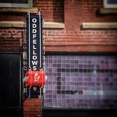 Oddfellows (tim.perdue) Tags: oddfellows liquor bar sign neon short north arts district columbus ohio high street brick wall hand