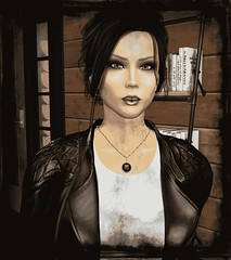 Faded Memory (alexandriabrangwin) Tags: alexandriabrangwin secondlife 3d cgi computer graphics virtual world photography fadd memory photo avatar remember old style picture rough edges montone sepia home black leather jacket speaking looking shocked mournful lost woman