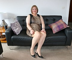 Leopard Print and Black Dress March 2018 002 (Jenny Gloria Williams) Tags: transgendered tranny transvestite tg transvestie trannie tranvesti transvestit transvestism travestido transvestitism crossdresser crossdressing crossdress crossdressed slingbacks higheels animalprint leopardprint jennywilliamstv