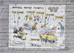 Montreal Winter Olympic (Grain Sand) Tags: montreal winterolympic brickwall graffiti politics poster cartoon canada canadian funny car boris globalwarming hoax