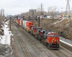 CN 120 (Michael Berry Railfan) Tags: cn canadiannational cn120 train freighttrain intermodaltrain cofc lachine montreal quebec generalelectric ge gevo es44ac cn2873 cn2607 cn2102 dash9 dash944cw dash8 dash840c c408 montrealsub