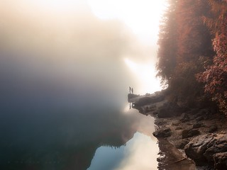 Solitude #altoadige #reflection #lagi #mountains #alpes #mist #dolomiti #dreamscape #autumn #sunrise
