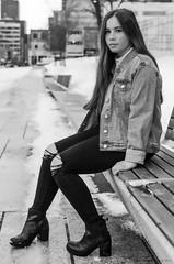 Éliane-1 (TheEvilDonut Photography) Tags: woman outdoors shooting portrait winter teen beautiful longhair montreal downtown