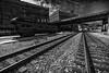 row and rail (david_sharo) Tags: urban bw tracks industrial bridges
