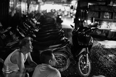 A night in Vietnam (rvjak) Tags: hanoï vietnam scooter night nuit street rue d750 nikon black white noir blanc bw people man old vieil homme truck camion
