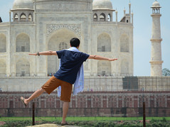A man looking at Taj Mahal in Agra, India (phuong.sg@gmail.com) Tags: adventure agra ancient architecture asia asian back backpack building culture destination heritage holiday india journey landmark landscape lifestyle looking male man minaret monument outdoor palace people rear religion summer sun sunlight tajmahal temple tomb tourism tourist travel traveler traveller vacation view watching young