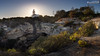 Farol de Alfanzina in front of the setting sun (dieLeuchtturms) Tags: sonnenuntergang portugal leuchtturm 16x9 algarve meer europa steilküste europe cliff lighthouse rockyshore sunset carvoeiro faro pt
