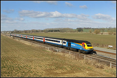 43059, Harrowden Junction (Jason 87030) Tags: hst emt eastmidlandstrains red white blue light sunny cold windy weather wellingborough theslips harrowdenjunction ts location highspeedtrain 43059 northants northamptonshire color colour scene clouds shot canon eos 50d image railway march 2018 fence field nottingham international midland mainline stpancras 1b48 photo photos pic pics socialenvy pleaseforgiveme picture pictures snapshot art beautiful picoftheday photooftheday allshots exposure composition focus capture moment