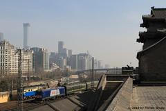 I_B_IMG_8411 (florian_grupp) Tags: asia china locomotive train railway railroad passenger diesel electric beijing station citywall beijingmainstation chaoyang peking cnr chinanationalrailway traffic bluesky