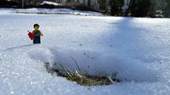 Drastic Measures (078/365) (robjvale) Tags: d3200 nikon adventurerjoe lego project365 snow winter tnt explosive hole blast