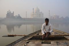 Taj Mahal from Yamuna (James8Arthur) Tags: agra india tajmahal mughal architecture shahjahan river yamuna boatman