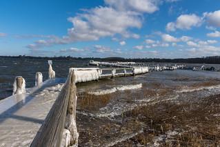 Vereister Steg heute aufgenommen an der Schlei in der Nähe der Schleibrücke Lindaunis - Iced jetty photographed at the Schlei near the bridge in Lindaunis