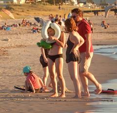Family Problem (mikecogh) Tags: grange beach shore family floatie problem ring plastic bikini