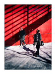 Red (Dave Fieldhouse Photography) Tags: streetphotography street london modern modernarchitecture red glass bold boldcolour shadows people pedestrian commuter worker mobilephone pavement portrait fuji fujifilm fujinon35mmf2 fujixpro2 wwwdavefieldhousephotographycom england capital urban cbd offices contrast uk citycentre colour